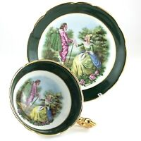 Regency Couple Romantic Love Scene Tea Green Cup Saucer Bone China England L028