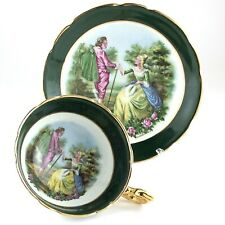 Regency Couple Romantic Love Scene Tea Green Cup Saucer Bone China England L028