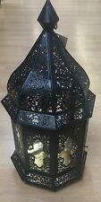 BNWT Black Gold Metal Ornate Cut Out Moroccan Gothic Candle Holder Lantern NEW