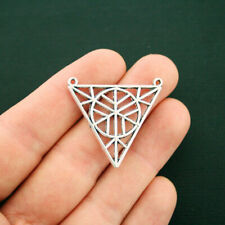 SC6317 4 Triangle Connector Charms Antique Silver Tone 2 Sided