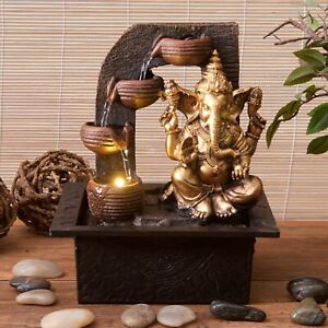 Golden Ganesh Water Fountain With LED Light Square Base - Housewarming Gift