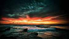 "Australia dark n stormy sunrise seascape ocean for your glass frame 36"" photo"