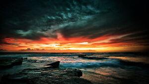 "Australia poster stormy sunrise seascape ocean for your glass frame 36"" photo"