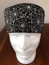 Halloween Spiderweb Men's Surgical Scrub Hat - Skull Cap