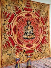 Indian Buddha Print Tapestry Wall Hanging Throw Bedspread Ethnic Queen Buddhism