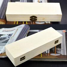 Storage Organizer Handmade Wooden Pencil Box Pen Case creux Base Blanc