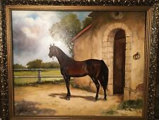 "Original Oil on Canvas Painting of ""Bay Race Horse"" by Irek T. Szelag, Signed"