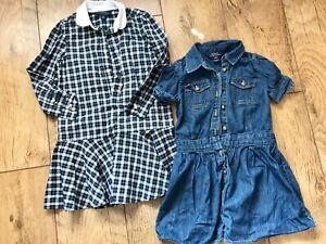 2 RALPH LAUREN POLO GIRLS DRESSES DENIM/ CHECK PRINT SHORT/LONG SLEEVES SZ 5