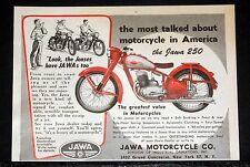 1949 OLD MAGAZINE PRINT AD, JAWA 250CC MOTORCYCLE, MOST TALKED ABOUT IN AMERICA!