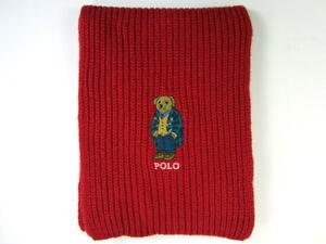 Polo Ralph Lauren Polo Bear Scarf Red Cotton Blend NWT