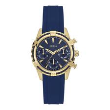 GUESS Women's U0562L2 Sporty Gold-tone Watch Blue Dial Silicone Strap