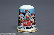 Merry Christmas From Mickey, Minnie & Donald Duck China Thimble B/144