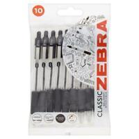 Zebra Z Grip Retractable Stick Black Ink 1.0mm Office School Pen- Pack of 10