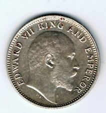 1906 India 1/4 Quarter Rupee silver coin : 2.9g