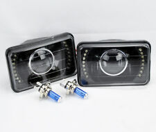 "4x6"" H4 Black Glass LED DRL Projector Glass Headlights Conversion Bulbs GMC"
