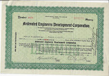 NEW JERSEY 1924, Federated Engineers Development Corporation Stock Certificate