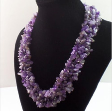 Genuine Rare Mixed Amethyst Gemstone Chip Bead Necklace 18 inch AAA