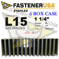 "L Staples L15 Galv 18 gauge 1/4"" crown 1 1/4"" length (fits Hit/Sen) case qty 6"