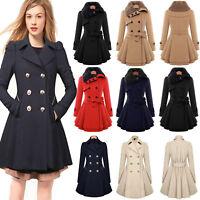 Women's Double Breasted Trench Coat Ladies Winter Parka Long Jacket Warm Outwear