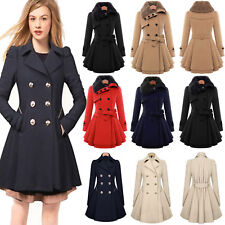 Womens Overcoat Woolen Trench Coat Ladies Winter Collar Parka Long Jackets Size