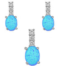 """BLUE FIRE OPAL & WHITE CZ .925 Sterling Silver Earring .5"""""""