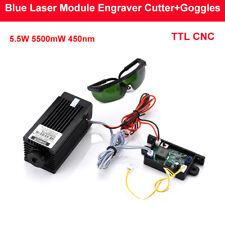DIY CNC TTL PWM 5.5W 5500mW 450nm Blue Laser Module Engraver Cutter w/ Goggles