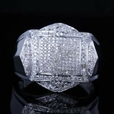 Ring For Men In 925 Silver 3.15Ct White Round Diamond Cluster Engagement Wedding