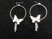 Hoop Earrings Rhinestone Crystal Butterfly Statement Dangle Chains Silver Tone