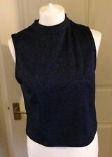 Ladies New Look Blue Silver Sleeveless Top Party Size 14 New With Tag B11