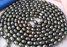 """9-10mm black rice freshwater cultured pearl necklace 80"""""""