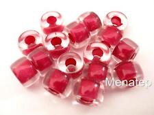 25 5 x 9mm Czech Glass Roller Beads: Crystal - Hot Pink Lined