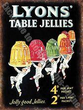 Vintage 82 , lyon's JELLY, Cafe Cocina Tienda Antigua, Medio Metal / Letrero de