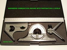 COMBINATION SQUARE WITH PROTRACTOR, SPIRIT LEVELS & SCRIBE- 300mm RULE, - NEW