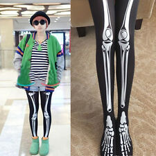 Hi-Q Halloween Gifts Girls Skeleton Bone Printing Black Leggings Stocking