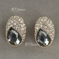 18K ROSE GOLD GF CHARCOAL GRAY MADE WITH SWAROVSKI CRYSTAL STUD EARRINGS
