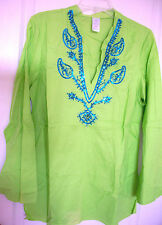 NEW $49 Green Tunic Top Pullover Turquoise Embellished Cotton Shirt Boho Hippie