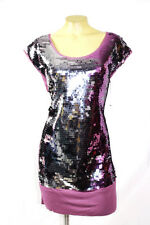 BCBG MAX AZRIA dress sequin purple silver large