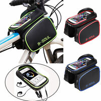 Bicycle Front Tube Frame Bag Mobile Phone Case Holder Bags 6.2''Bike Accessories