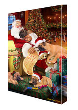 Happy Holidays Santa Sleeping Bullmastiff Dogs Christmas Canvas Wall Art