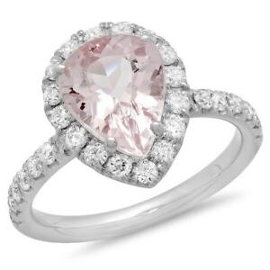 Certified 3.20cttw Morganite 0.80cttw Diamond 14KT White Gold Gold Ring