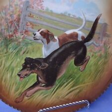 """antique Rk Beck German Shorthaired Pointer Coonhound hunting dogs 10"""" plate"""