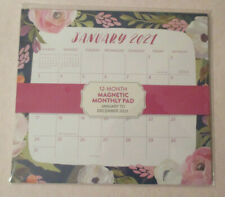 2021 Magnetic 95x85 Pink Red Flowers Roses Wall Calendar Monthly Pad 1 Yr