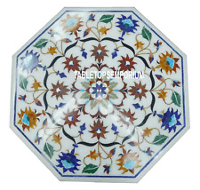 "24"" White Marble Side Coffee Table Top Pietradura Inlay Marquetry Floral Decor"