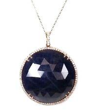 14k Rose Gold Round Blue Sapphire & Diamond Pendant  (Dia. 0.40cts) ( No Chain)