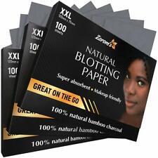 Natural Bamboo Charcoal Blotting Paper - 100 XXL Super Absorbent Sheets
