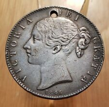 1845 GREAT BRITAIN QUEEN VICTORIA ONE 1 CROWN WORLD SILVER COIN-Only 159K MINTED