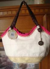 NWT~ THE SAK INDIO CREAM LEATHER HOBO, FUSHIA CROCHET & ESPADRILLE SHOULDER BAG