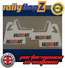 rallyflapZ Mitsubishi Lancer Evo 7-9 Mud Flaps White Ralliart Black R&O 4mm PVC