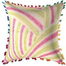 Decorative Cotton Sofa Chair Cushions  Embroidery Pom Pom Striped Pillow Covers