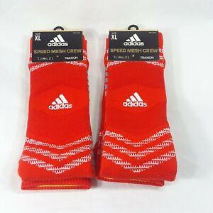 Adidas Set of 2 Men's Climalite Traxion Speed Mesh Crew Socks Orange Size XL